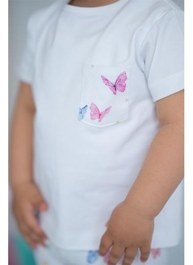 Nila Kids Butterfly Organik Kız Bebek Cepli Tişört Beyaz